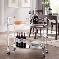 Janiston Silver Acrylic Bar Cart,