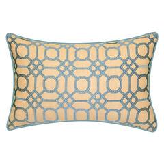 Indoor & Outdoor Raffia Geometric Embroidery Lumbar Decorative Pillow,