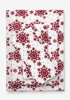 Cotton Flannel Print Sheet Set, CRANBERRY SNOWFLAKE