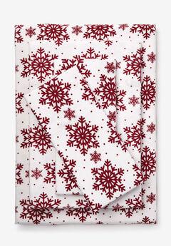 Cotton Flannel Print Sheet Set, CRANBERRY SNOWFLAKE