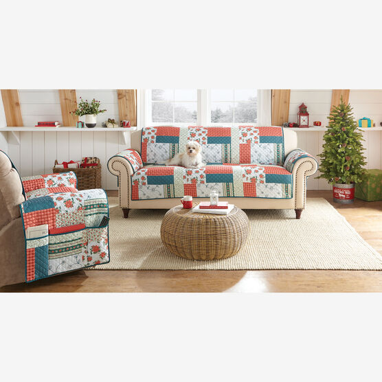 Printed Faux Patchwork Sofa Protector,