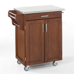 Cherry Finish Create a Cart  with Stainless Steel Top ,