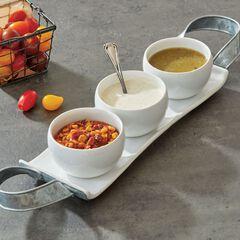 3-Pc. Ceramic Bowls with Tray,