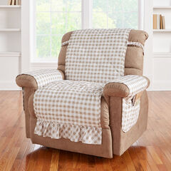 Gingham Ruffled Waterproof Microfiber Recliner Protector, TAUPE WHITE