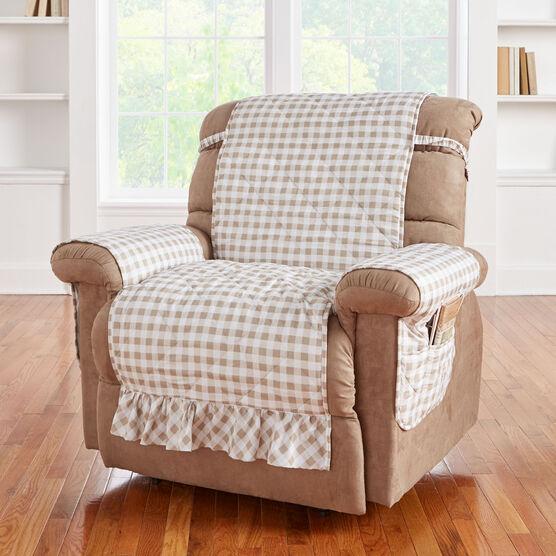 Remarkable Gingham Ruffled Waterproof Microfiber Recliner Protector Andrewgaddart Wooden Chair Designs For Living Room Andrewgaddartcom