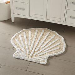 Shell Bath Mat, BEIGE WHITE
