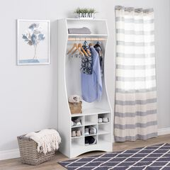 Prepac White Compact Wardrobe with Shoe Storage,