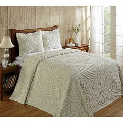 Florence Collection Tufted Chenille Bedspread by Better Trends, SAGE