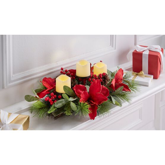 "Amaryllis 31"" Centerpiece, RED"
