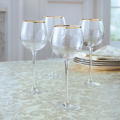 Set of 4 Gold Rim Wine Glasses,