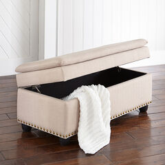 Oversized Ottoman with Studs, OATMEAL