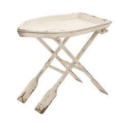 White Chinese Fir Coastal Accent Table, 25x28x16,