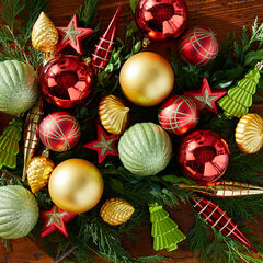 40-Pc. Classic Ornament Set, RED GREEN GOLD