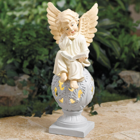 Sitting Angel Statue With Warm Solar Light