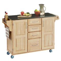 Large Natural Finish Create a Cart with Black Granite Top ,