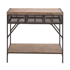 Brown Industrial Metal Console Table, 32 x 43,