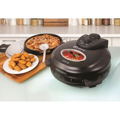 "Euro Cuisine 12"" Rotating Pizza Maker with Stone & Baking Pan, BLACK"