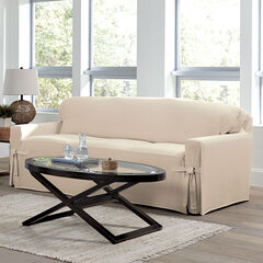 Mix & Match Solid Cotton Sofa Slipcover ,