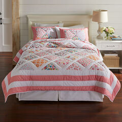 Ginger Patchwork Quilt, PINK WHITE
