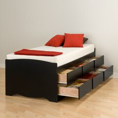 Tall Twin Captain's Platform Storage Bed with 6 Drawers,