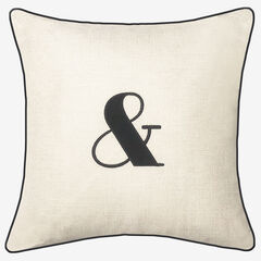 "Embroidered Appliqued ""&"" Decorative Pillow,"
