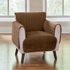 Reversible Plush Stripe Recliner Protector, CHOCOLATE