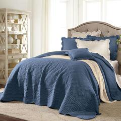 Florence Oversized Bedspread, SMOKY BLUE