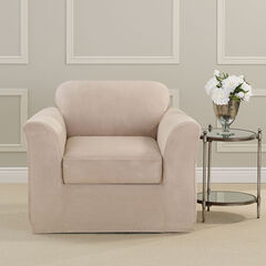 Ultimate Stretch Faux Suede Chair Cushion Slipcover,