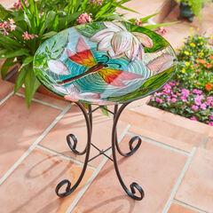 Dragonfly Painted Glass Birdbath,