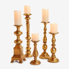 Candlesticks, Set of 5, GOLD