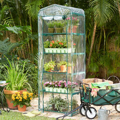 5-Shelf Mini Greenhouse with Cover,