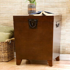 Espresso Pyramid Trunk End Table,
