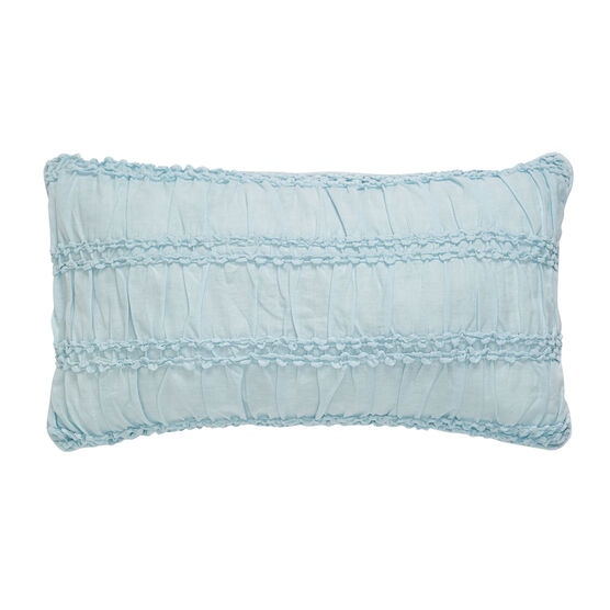 Claudine Ruched Floral Lumbar Pillow, LIGHT BLUE