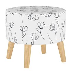 Contoured Tulips Round Ottoman with Splayed Legs,