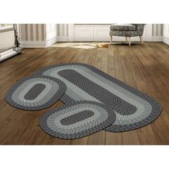 Better Trends Country Braid Collection 3 Piece Set Durable & Stain Resistant Reversible Indoor Oval Area Rug,