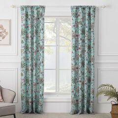 Audrey Turquoise Curtain Panel Pair,
