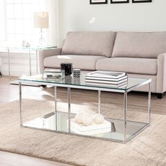 Arbella Glass Cocktail Table with Mirrored Shelf,