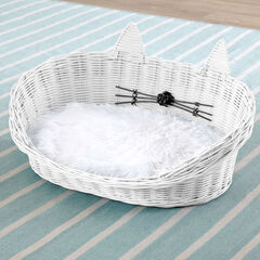 Cat Ear Rattan Pet Bed,