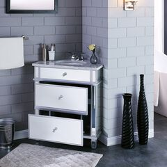 Abbington Mirrored Corner Bathroom Vanity Sink with Drawers,