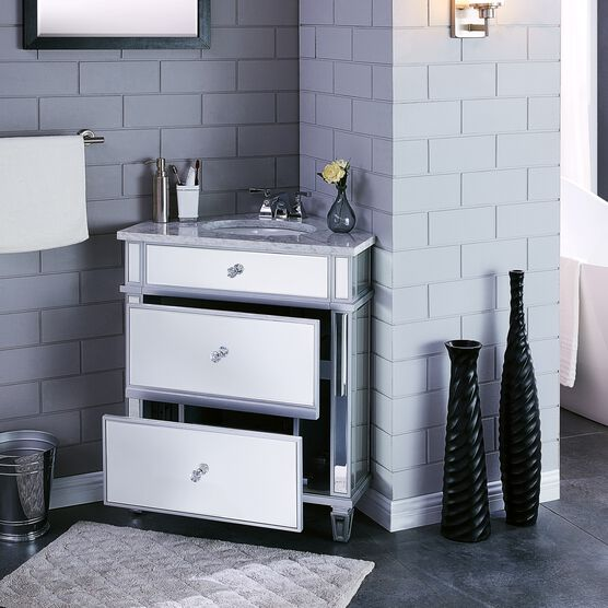 Abbington Mirrored Corner Bathroom Vanity Sink With Drawers Brylane Home