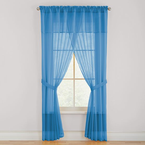 BH Studio® Sheer Voile 5-Pc. One-Rod Curtain Set,