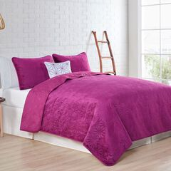 Solid Velvet Quilt Set,