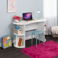 Kurv Compact Student Desk with Storage, White,