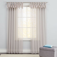 Breeze Tab-Top Wood-Ring Sheer Panels, GRAY