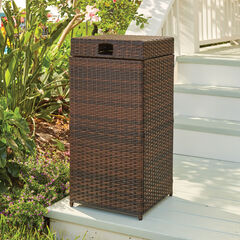 Santiago Wicker Trash Can, BROWN