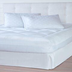 Adoria Eyelet Mattress Pad, WHITE
