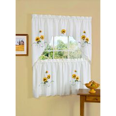 Sunshine Embellished Tier and Swag Window Curtain Set,