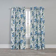 Floral Check Blackout Rod-Pocket Panel, BLUE GREEN