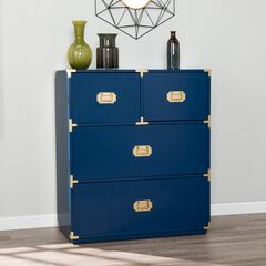 Campaign Blue 4-Drawer Accent Chest,