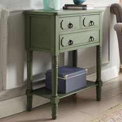 3 Drawer Chest with Open Shelf, GREEN